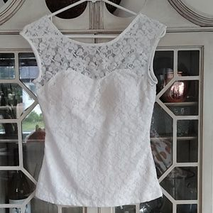 Lace cap-sleeved top